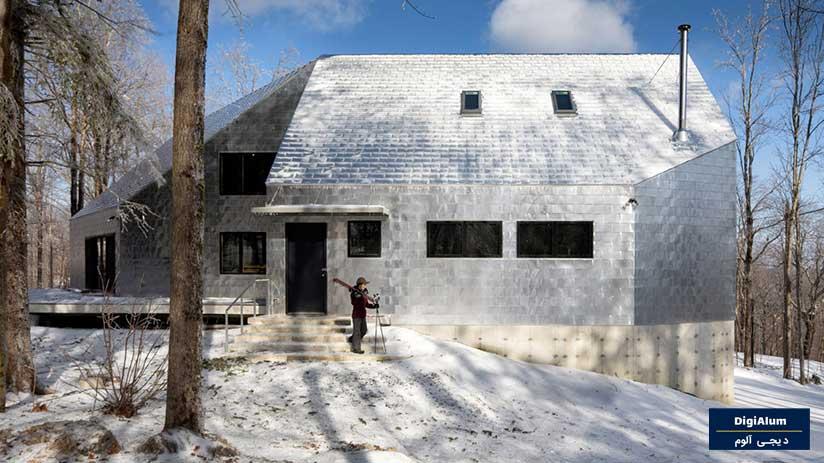 خانه ای با نمای آلومینیومی در عمق جنگلهای ماساچوست