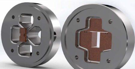 به ترتیب از چپ به راست: سنبه و Cap برای انواع قالب اکستروژن توخالی